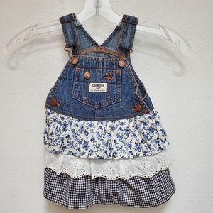 Oshkosh B'gosh Demin Floral Eyelet & Checker Dress